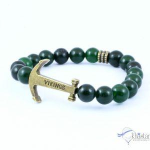دستبند اسپرت سنگ جید سبز تیره + طرح لنگر کد 888